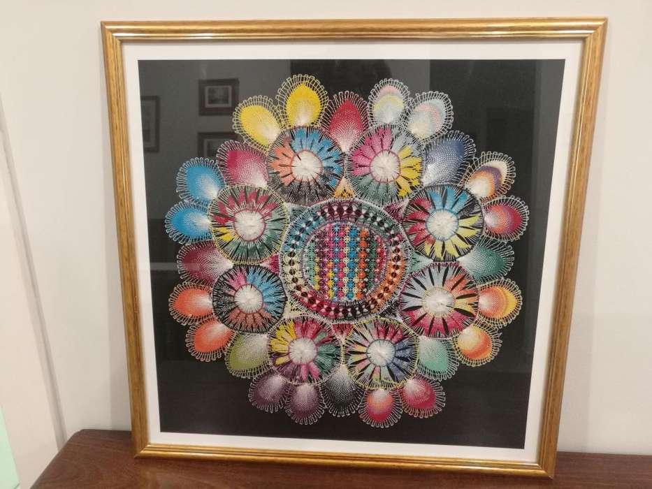 Cuadro artesanal de Ñandutí hecho a mano