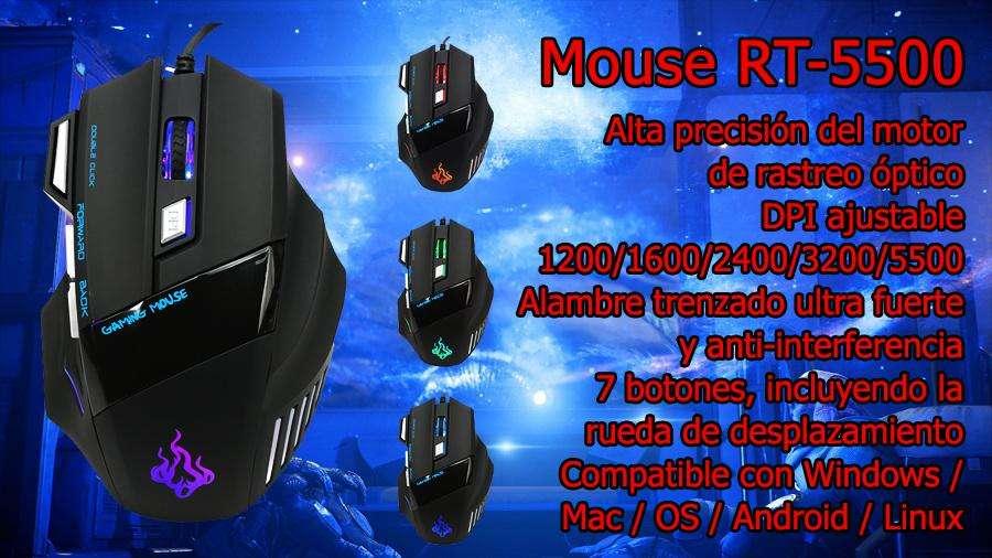 Mouse Gamer Rt5500 Retroiluminado 7 Botones y alambre trenzado ultra fuerte