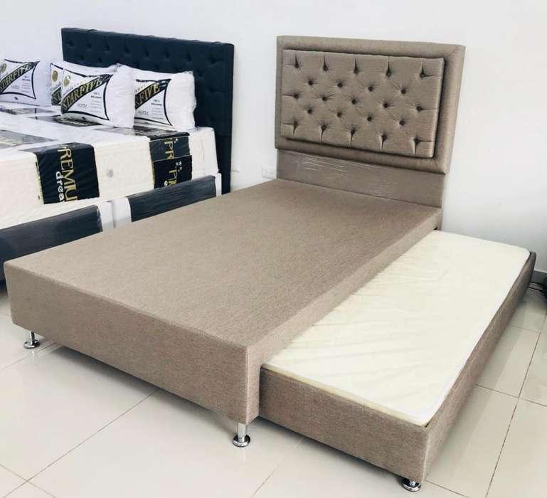 Cómodo Somier sencillo con cama auxiliar y Espaldar