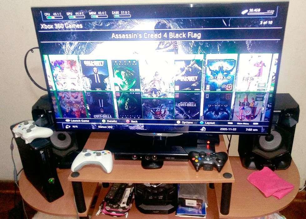 XBOX 360 Slim - RGH -250Gb - Kinect - 3 Mandos - 13 Juegos