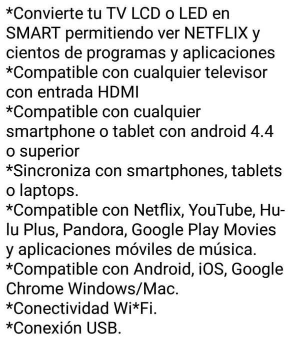 Vendo Convertidor de Smart Tv Chromecast