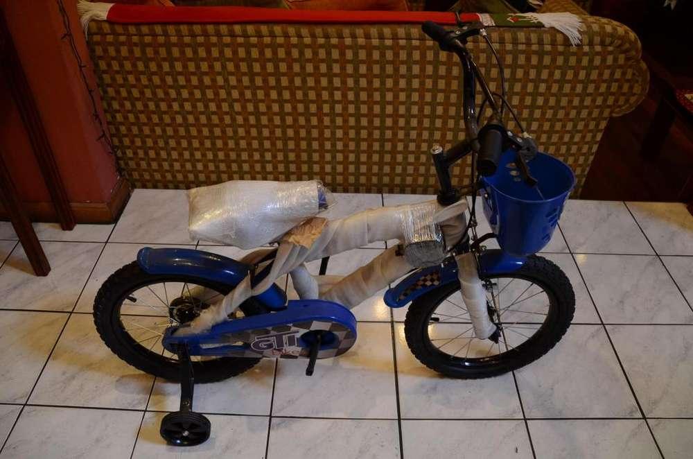 Bicicleta Gti Niño Niña Ruedas Auxiliares Color Azul