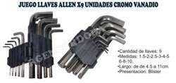 JUEGO LLAVES ALLEN X9 UNIDADES CROMO VANADIO