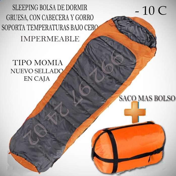Bolso saco de dormir sleeping Pro de 2.05 kg, soporta climas extremos de -10c