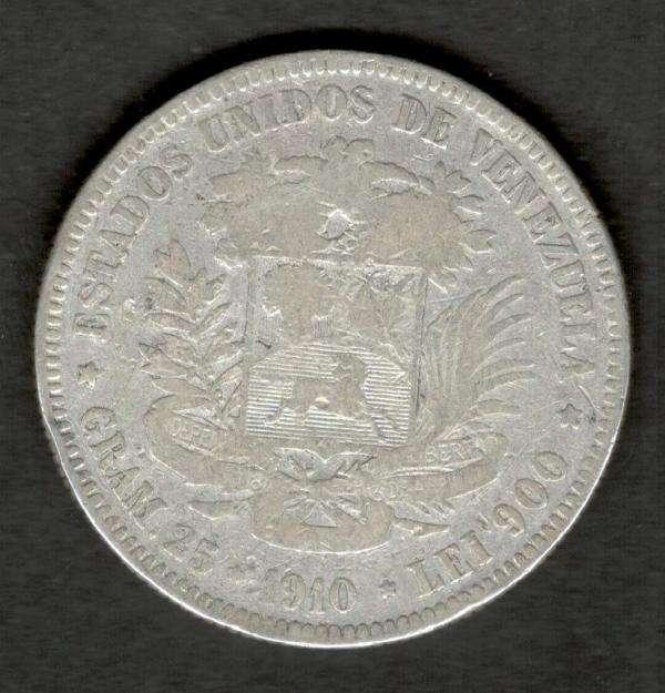 Venezuela 1910 FUERTE 5 Bolivares 90 Silver Coin 25 Grams