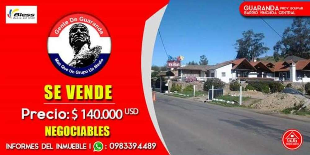 Se vende Casa en Guaranda Vinchoa Central