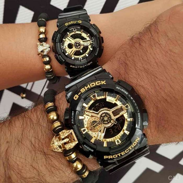 Pareja de relojes Casio G-Shock en color negro