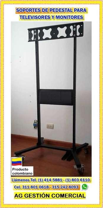 Soportes de pedestal tipo H Tradicional para <strong>televisor</strong> o monitor, Base al piso, Cel 315 242 8093