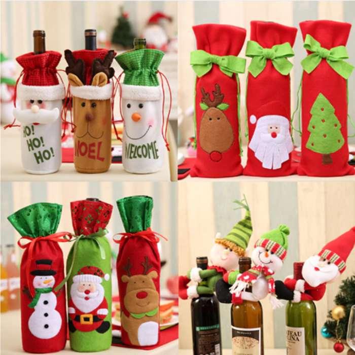 Estuche Botella De Vino Decoración Navidad Accesorios