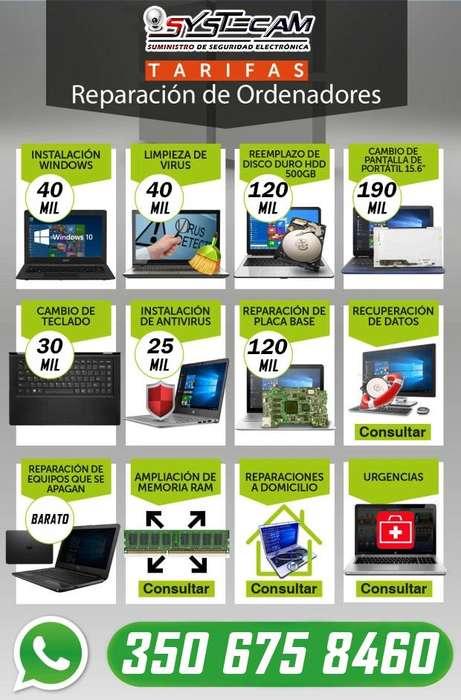 Tarifa de reparacion de computador portatil notebook mac pc