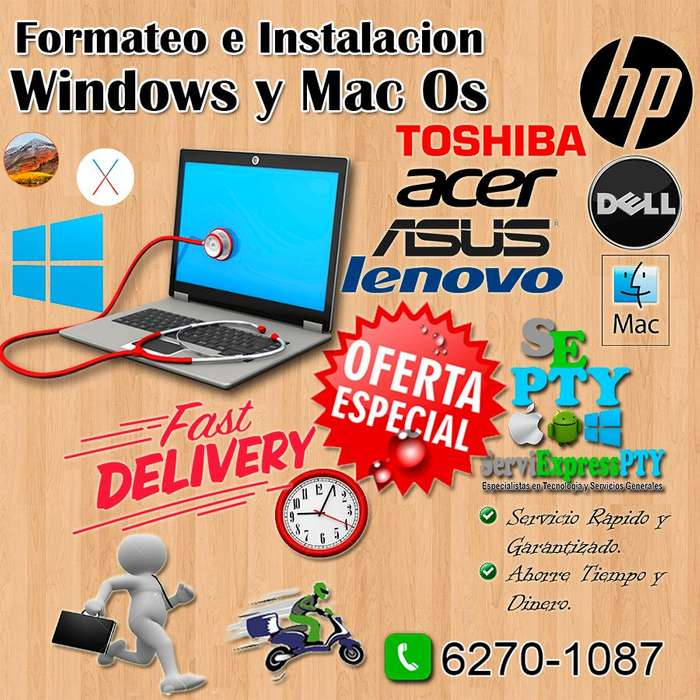 Soporte/servicio tecnico para laptops/Formateo/Reparaciones/pc Windows y apple Macbook/iMac Programas y mas
