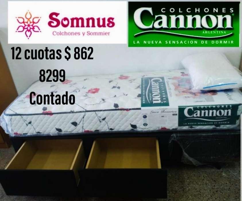 Colchón Cannon Y Sommier Cajones 80x190