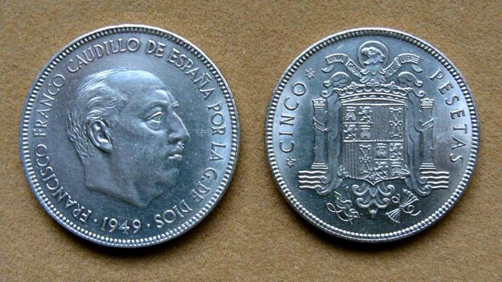 Moneda de 5 pesetas Franco, España 1949 49