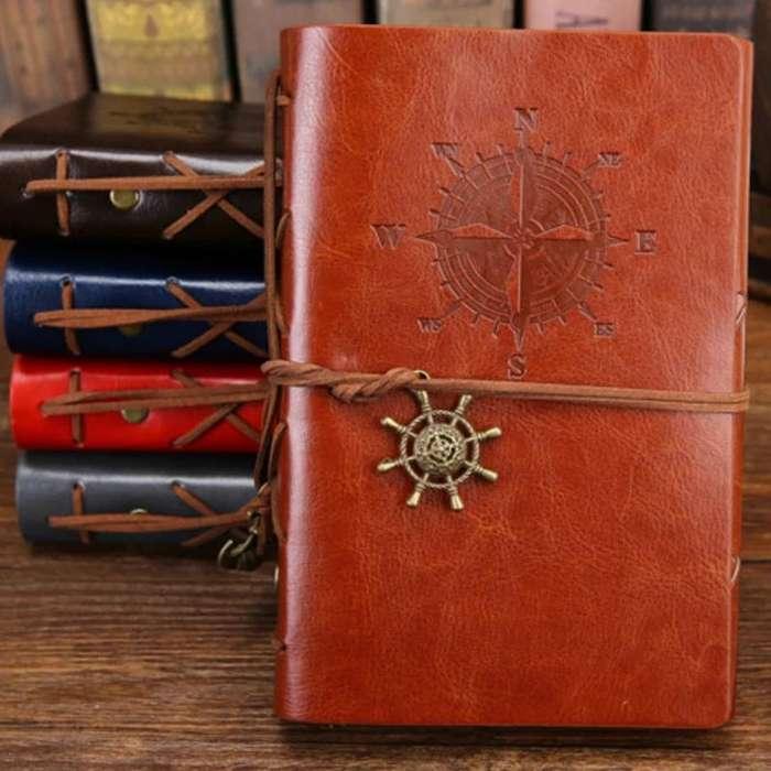 Agenda Vintage Pirata Cuaderno Notas Retro Libro Cuero