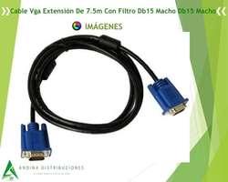 Cable Vga Extensio?n De 7.5m Con Filtro Db15 Macho Db15 Macho