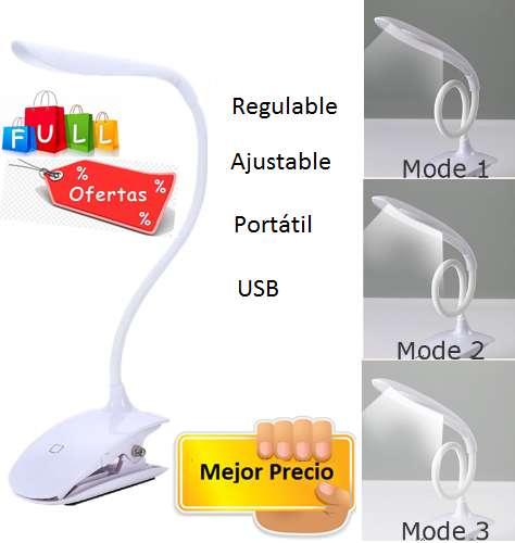 Lámpara LED USB botón táctil regulable con clip