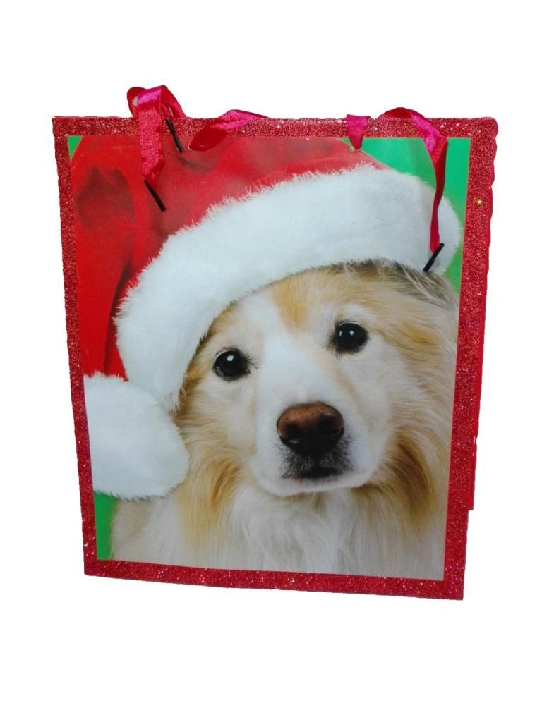 Bolsa de Regalo Perro gorro Noel 33cm Momentum Brands original Navidad Adorno decoracion