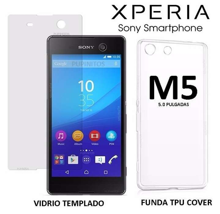 Funda Tpu Silicona Vidrio Templado Sony Xperia M5 Rosario