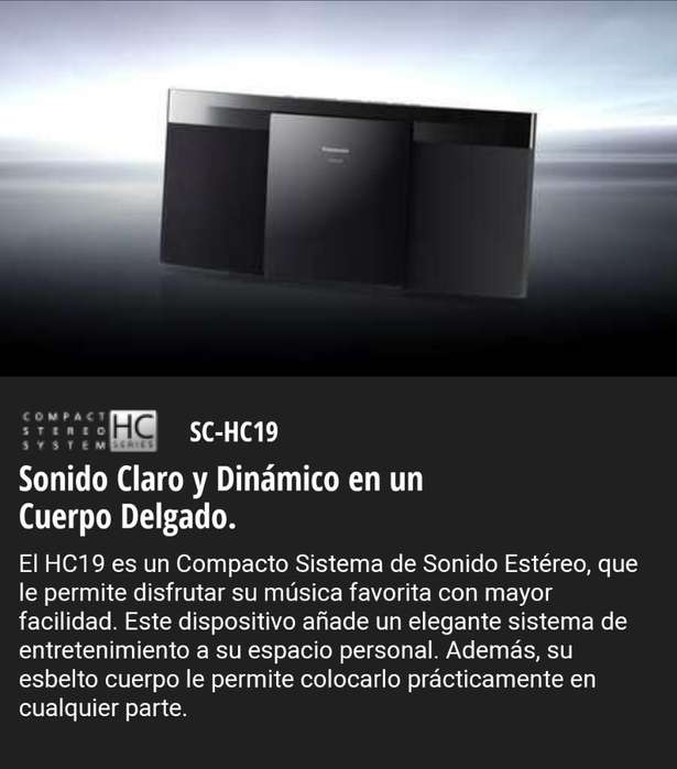 Minicomponente Sc-hc19 Panasonic