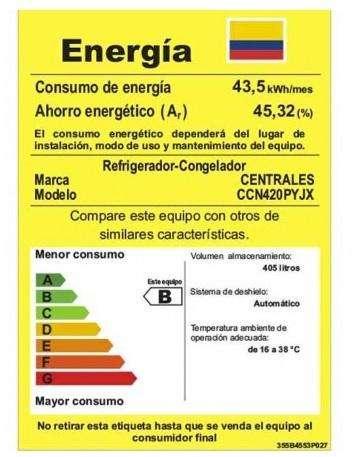 Nevera Centrales 420 Lt 14 meses de uso