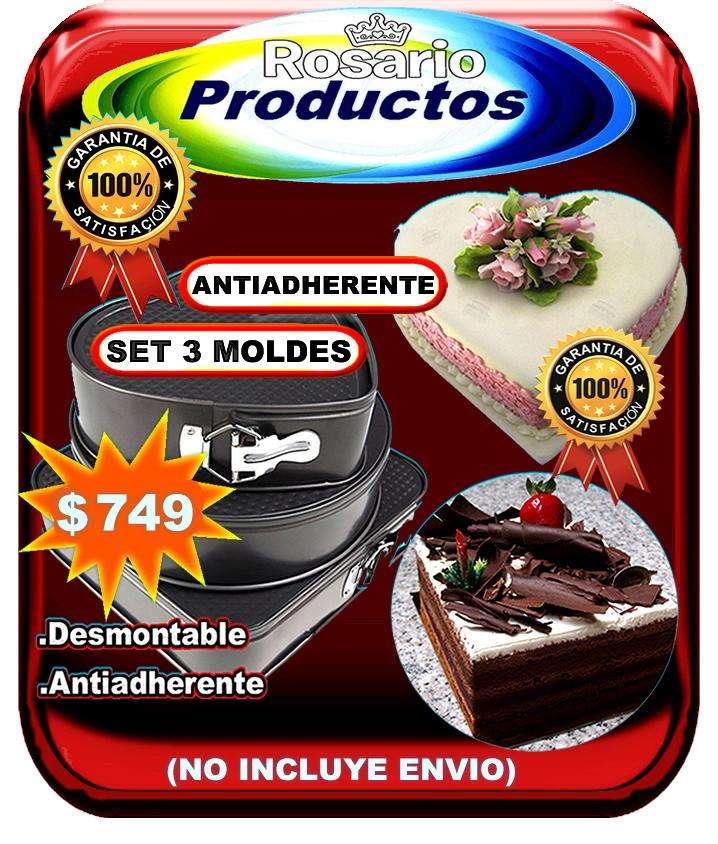 SET DE 3 MOLDES TORTA ANTIADHERENTE (NO INCLUYE ENVIO)