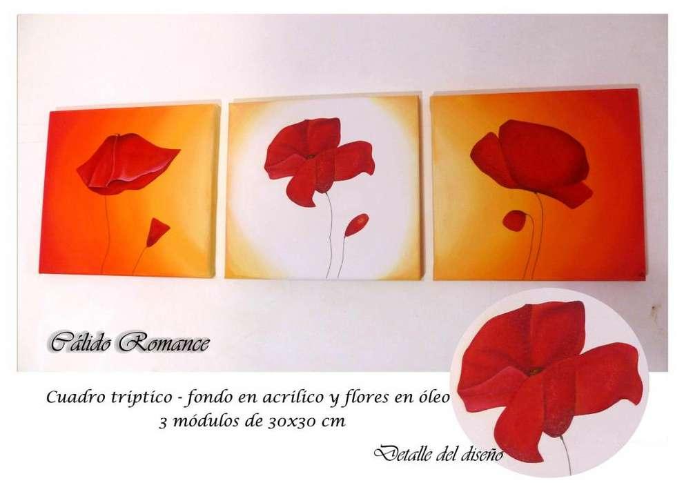 Cuadros pintados a mano Acrilico Polipticos Florales Artisticos Amapolas bastidor de lienzo