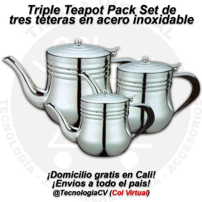 Set de tres teteras pequeñas en acero inoxidable Triple Teapot Pack 0960V.P40 R0310