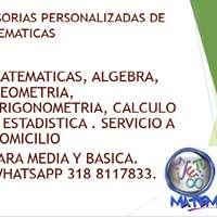 PROFESOR DE MATEMÁTICAS, OFRECE TUTORIAS O CLASES A DOMICILIO.