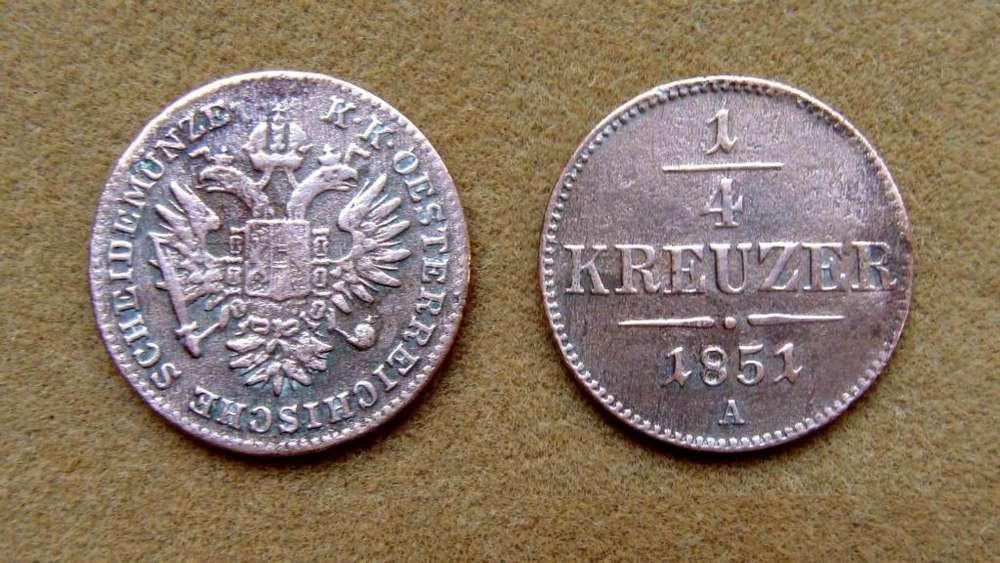 Moneda de 1/4 de kreuzer Imperio Austro-Húngaro 1851