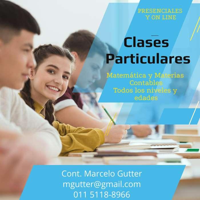 Profesor - Clases Particulares Matemática y Materias Contables. Todas las edades y niveles.