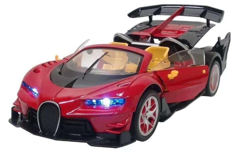 Auto Control remoto Bugatti Chiron abre puertas y aleron con boton del control con pilas recargables y cargador