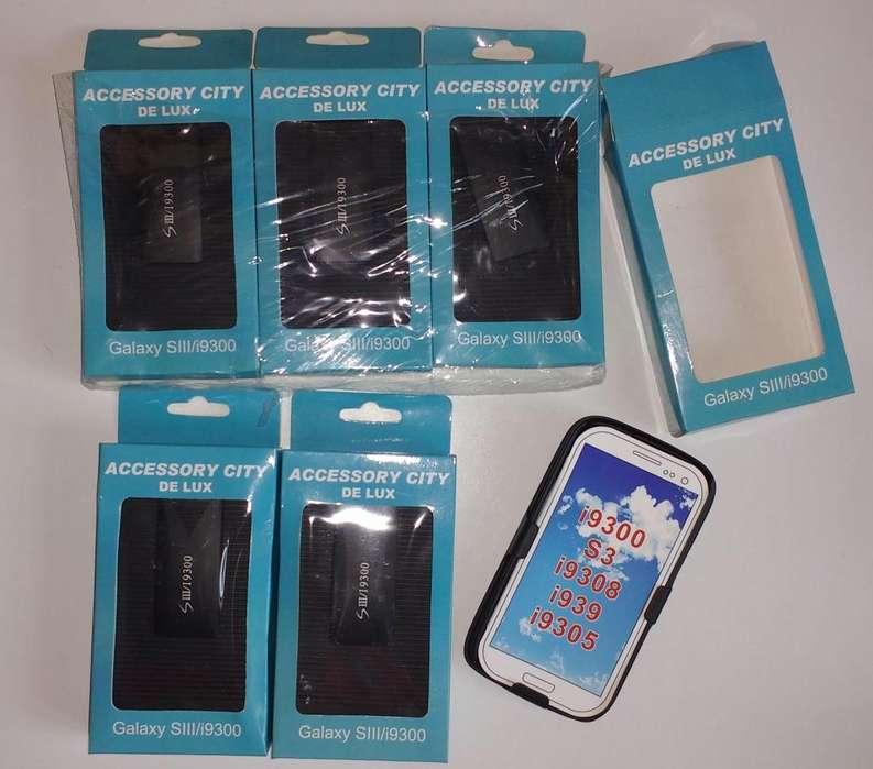 Lote 6 fundas carcasas anticaidas SAMSUNG S3 I9300 939 I9305 FundasJess 9308 un_kiwi_azul