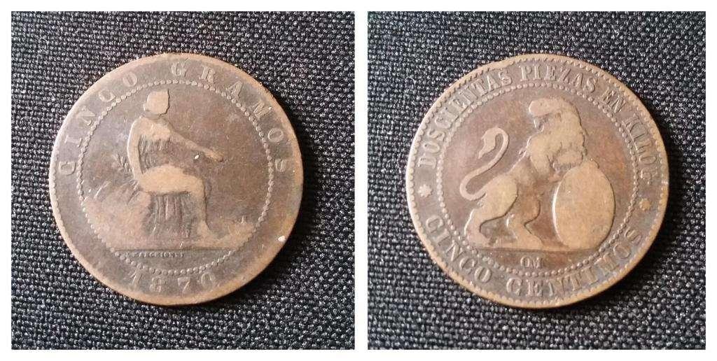 Moneda España 5 Céntimos 1870 BRONCE