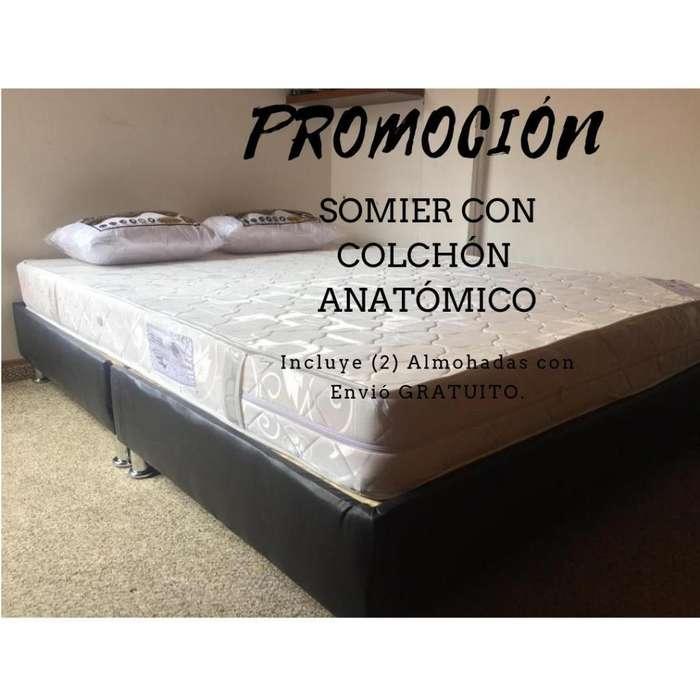 COLCHON SEMI ORTOPEDICO CON BASE CAMA Y ALMOHADAS Envio gratis!