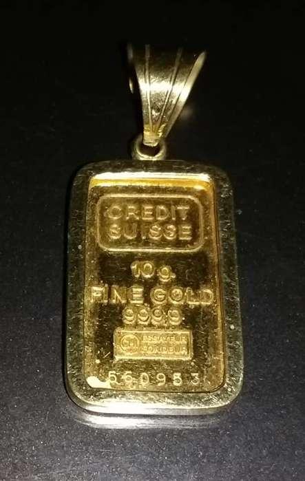 Lingote de <strong>oro</strong> 24 k .(puro)de 10 g. engarzado para colgar. NO HACER OFERTAS.