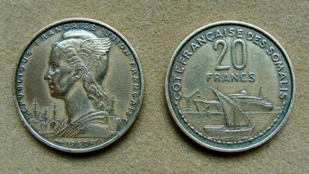 Moneda de 20 francos Somalía Francesa 1952