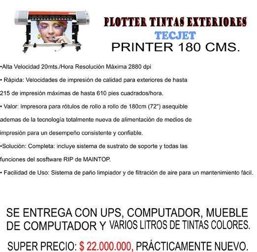 GANGA PLOTTER DE IMPRESIÓN 180 CMS TINTAS ECO-SOLVENTE CASI NUEVO. CON TODO.