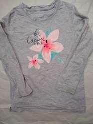 Remera Osh Kosh M, LargaT7gris con flor perfecta