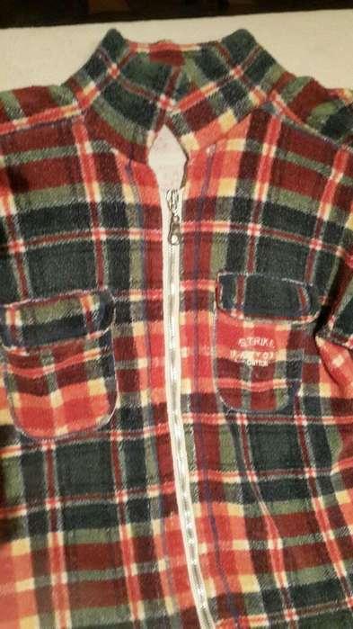 Camisa Casual de Chenille Naranja Y Petroleo.