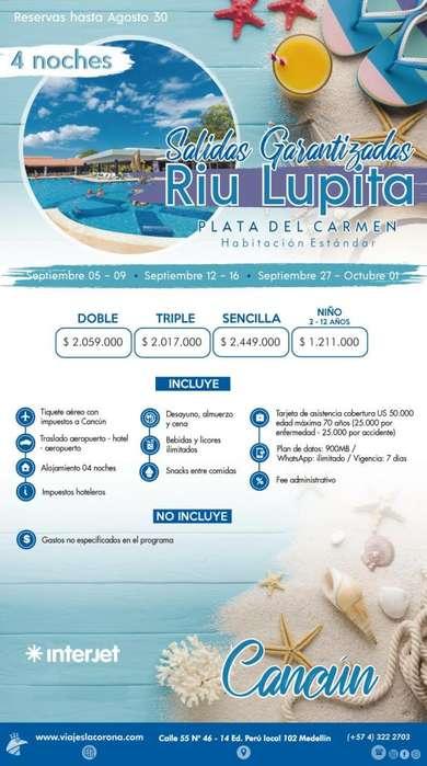 Viaje como un Rey a Cancún H. RIU LUPITA con Viajes la Corona