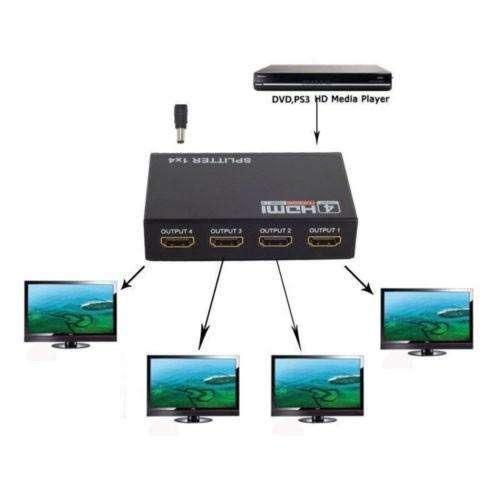 SPLITTER HDMI 1X4 FULL HD 3D V1.4 MULTIPLICADOR 1080P