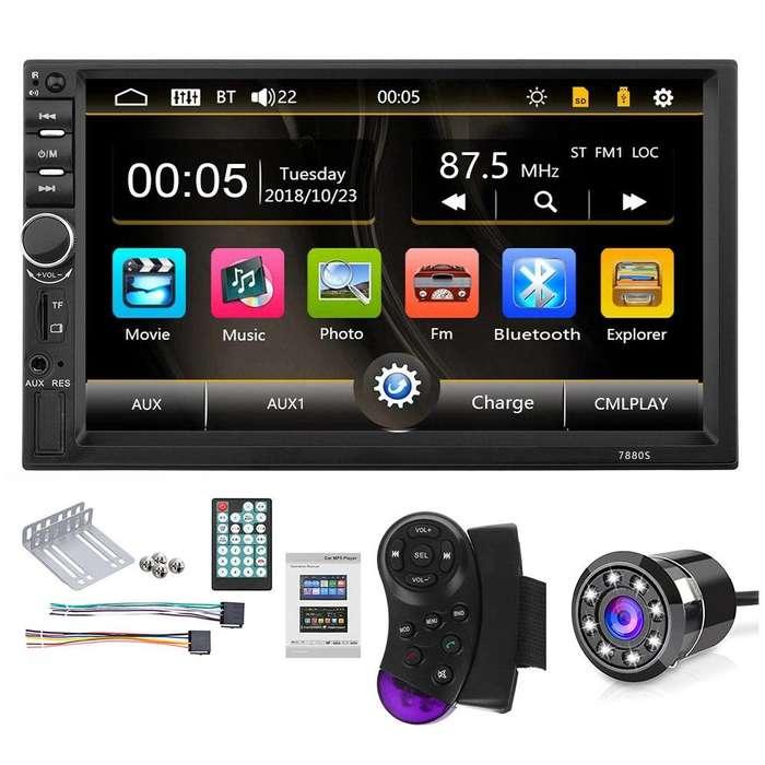 Radio para Carro Mp5 Bluetooth Usb mirror link sd Aux Pantalla 7 pulgadas 2 din 4x60w camara de reversa