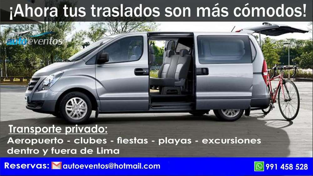 Alquiler Minivan traslados servicio movilidad aeropuerto cieneguilla eventos autos novias bodas