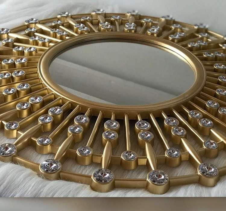Espejo de Lujo Dorado-plateado