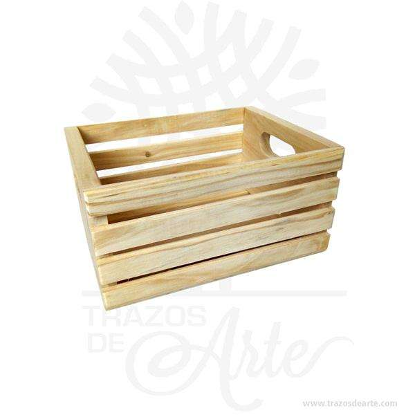 Caja regalo tipo huacal en madera de pino 25 X 18 X 12 cm en crudo