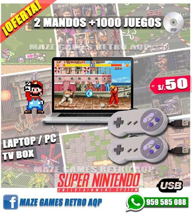 2x50 Mando Control USB *Nuevo. Súper Nintendo Snes *Mejor Calidad (Botones Morados). Con 1000 JUEGOS
