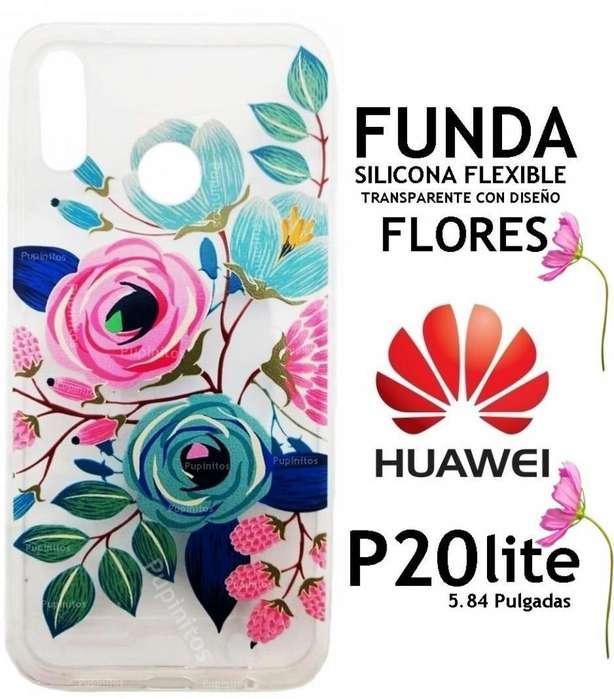Funda Tpu Flores Silicona Flexible Huawei P20 Lite Rosario