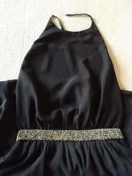 Vestido Largo Negro de Fiesta Zara Gasa Bordado en Cintura USADO, IMPECABLE!