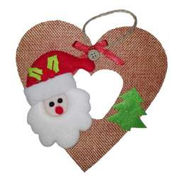 Adorno para Arbol Navidad Papanoel Corazon 15cm regalo navideño amor