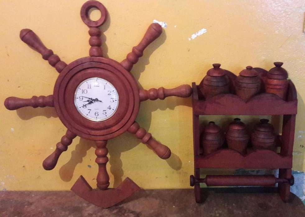 Reloj Timon 60cm d alto Mas especiero Todo nuevo en algarrobo